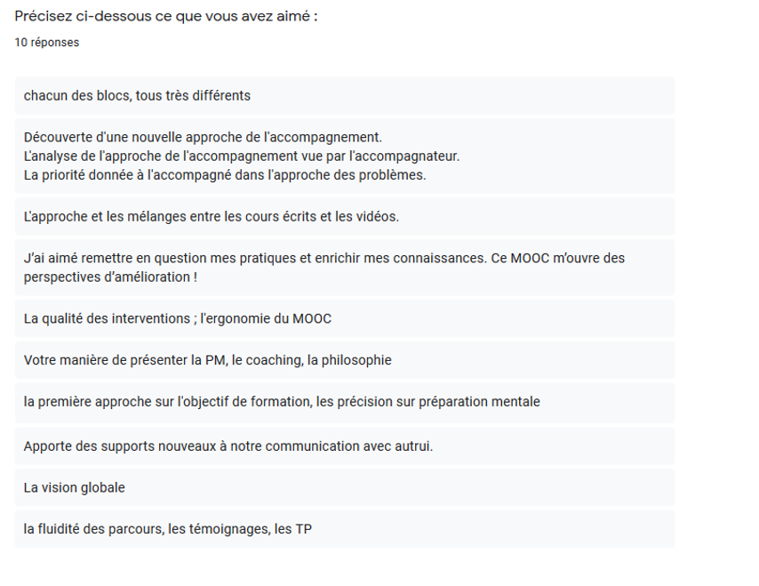 Commentaires MOOC